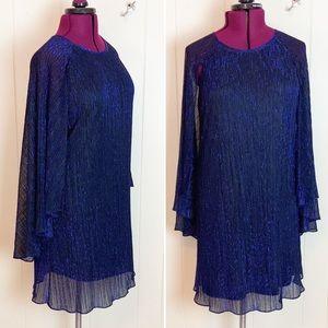 Calvin Klein Sparkly Blue Party Dress 14 Disco